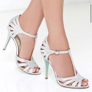 Betsey Johnson T Silver Glitter Heels